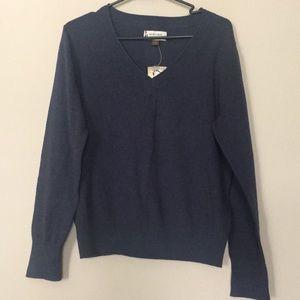 🍉 2/$15 Sonoma NWT Navy Blue V Neck Sweater Lg
